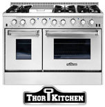 THOR 48 inch Double Oven Professional Range with Griddle Section for Gas or Dual Fuel