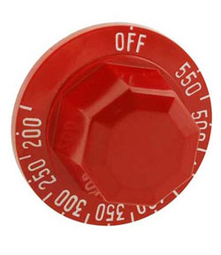 Thermostat Dial, Red Dial, KX Style (for ASA, MSA  griddles, etc.)