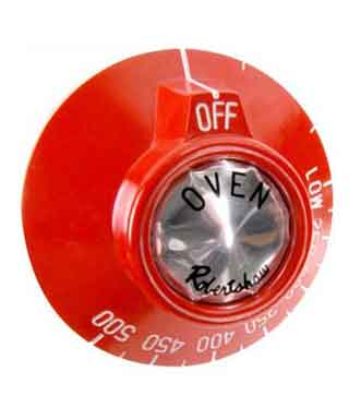 Dial for Thermostat on Ovens, Red (for EG, VG, MG, LL, LC, FL, FLC, Vulcan, Wolf W series)